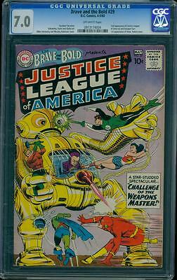 Brave and the Bold 29 CGC 7.0 OW Silver Key DC 2nd App Justice League L@@K