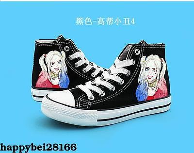 Suicide Squad Harley Quinn High Canvas Shoes Casual Sneakers Boys&Girls Black
