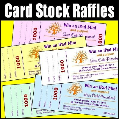 card stock 100 raffle tickets custom stub numbers color paper 2