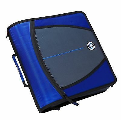 Case-it Mighty Zip Tab 3-Inch Zipper Binder Blue D-146-BLU