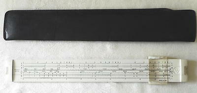 """Vintage 12"""" Narrow Stock Slide Rule Pickett No. 120 With Stitched Faux Leather"""