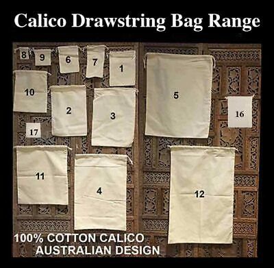 Calico Drawstring Bags Bulk  Calico Bags Cotton Tote Bag Pkts: 5,15, 30, 50, 100
