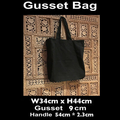 Black Calico Gusset Bags Black Tote Calico Bag Shopping  W34 x H44cm Gusset 9cm