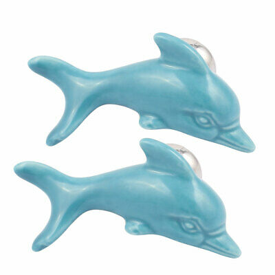 Cabinet Wardrobe Drawer Door Pull Dolphin Shape Design Ceramic Knobs Blue 2pcs