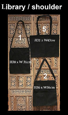 Black Library Calico Bag Bulk Calico Bags Calico Shoulder Bags Pkts: 1-200