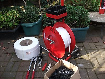 """Heavy Duty Trolly Cart With 1X Strapex Tentioner, 1/2"""" Clamping Tool, 2 Rolls 12"""