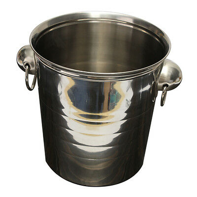 2X(Silver Stainless Steel Ice Punch Bucket Wine Beer Cooler Champagne Cool Q4)