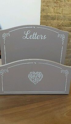 Letter rack box post tray desk hearts love shaby chic neutral