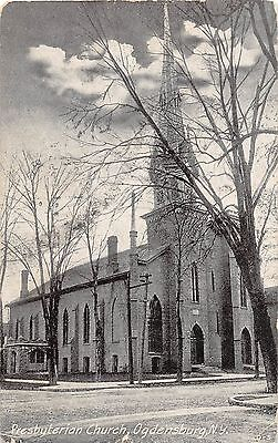 B87/ Ogdensburg New York NY Postcard 1909 Presbyterian Church Building