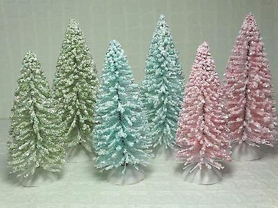 Shabby Christmas Chic Sisal Bottle Brush Trees Flocked White Pink Snow New Lot 6