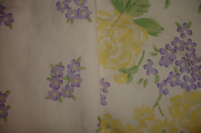 Pottery Barn Kids ~ Twin Duvet Cover Floral Reversible White Lavender Yellow