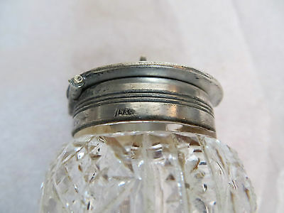 Vintage Crystal Glass Mustard Pot with Silver plate Top / Lid - Decorative Table