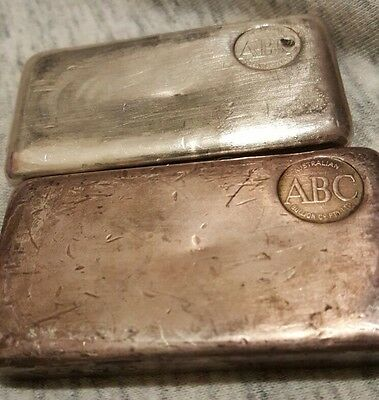 2x Vintage ABC (Australian Bullion Company) 500gm 999 Fine Silver Bullion Bar