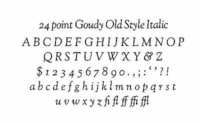 New Letterpress Type- 24pt. Goudy Old Style Italic