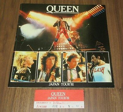 Queen JAPAN 1981 tour book + CONCERT TICKET STUB! more listed! FREDDIE MERCURY