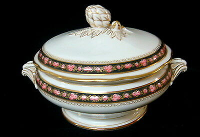 Vintage French Porcelain Hand Painted Roses China -Covered Vegetable Bowl -b