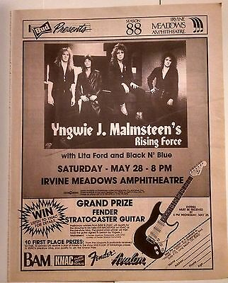 Yngwie J Malmsteen's Rising Force Original Los Angeles Concert Promo Ad 1988