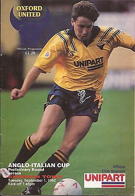 Football Programme - Oxford Utd v Swindon Town - Anglo-Italian Cup - 1/9/1992