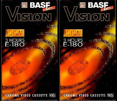 2 Blank / Old TV Recordings VHS Video Tapes - BASF Vision E180 - 3/6 Hours - VGC