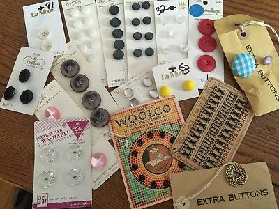 Lot of  Vintage Original Buttons, Sewing Notions, Loose And On Original Cards