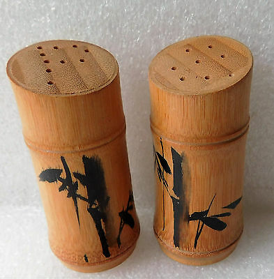 Vintage bamboo salt cellar and pepper pot set Chinese painting Wooden cruet