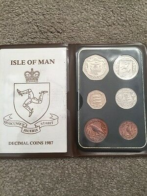 1987 Isle of Man Decimal Coins incl. very rare 50p Viking Ship With AA Die Mark