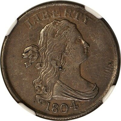 1804 1/2C Spiked Chin Draped Bust Half Cent NGC XF45BN #002