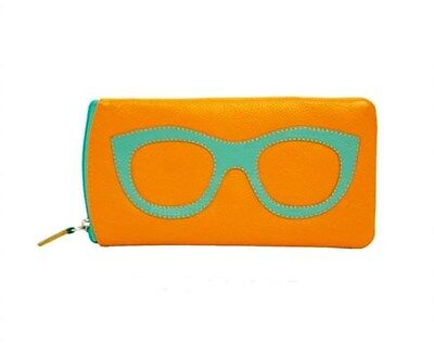Ili Leather Double Eyeglass Case ~Two Zip Papaya & Turquoise Glasses Case ~ New