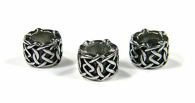 Column Styled Beads Stainless Steel For Leather & Paracord Bracelets & Lanyards