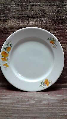 California Poppy Lunch Plate  Sante Fe Railroad Harvey House Syracuse Restaurant