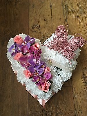 Heart Funeral Tribute Grave Memorial Pink Lilac Orchid Rose Artificial Flowers