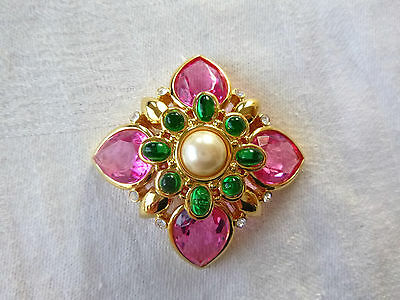 Signed Joan Rivers Brooch/Pin Modified Flower or Cross Swarovski Crystals