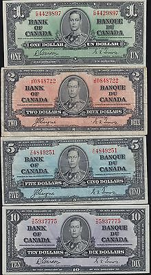 1937 Bank of Canada $1 - $100 Complete Set of Banknotes