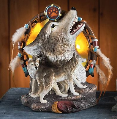 Howling Wolves At the Lighted Moon Dreamcatcher Sculpture Tabletop Decoration