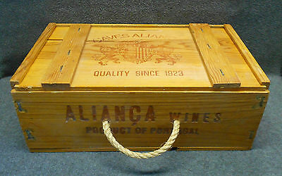 Caves Alianca Wine of Portugal Wood Box Crate Rope Handle Sliding Top 14 x 9 x 5