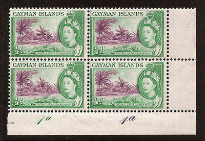 CAYMAN ISLANDS SCOTT # 136 NH  BLOCK OF 4 WITH PLATE #'s, FREE SHIPPING IN USA