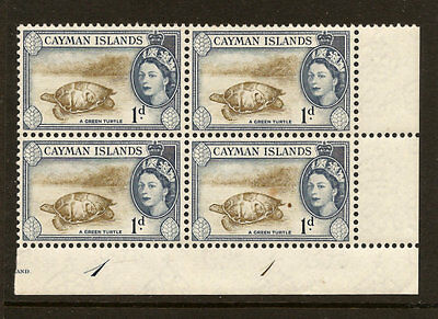CAYMAN ISLANDS SCOTT # 137 NH  BLOCK OF 4 WITH PLATE #'s, FREE SHIPPING IN USA