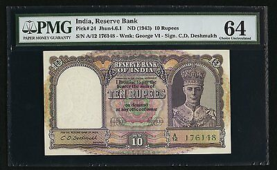 PICK# 24 Jhun4.6.1 ND (1943) 10 RUPEES INDIA, RESERVE BANK PMG CHOICE UNC-64