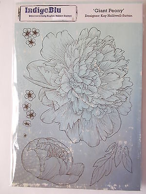 Indigoblu A5 Cling Mounted Rubber Stamp - Giant Peony