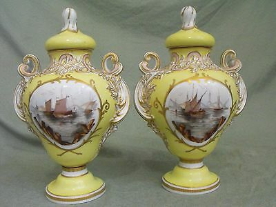 Pair Antique German Porcelain Naval Ships Scene Floral Yellow Gilt Covered Urns