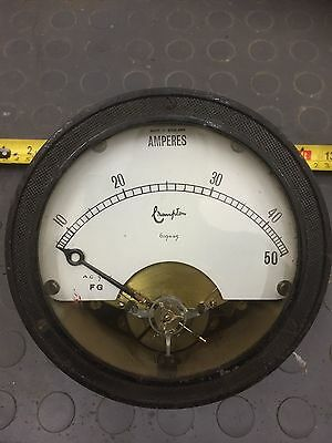 Lovely old large faced Ammeter by Crompton  0- 50 Amp