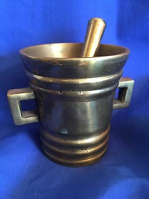 Vintage Brass Mortar and Pestle STAMPED Denmark Very Small 2.5 Inches Tall