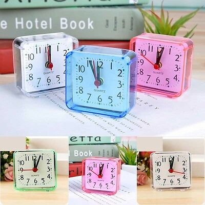 Vintage Square Bed Compact Alarm Clock Mini Outdoor Portable Table Gift