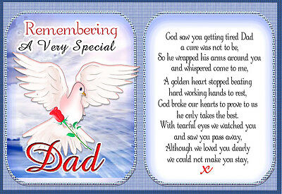 DAD  Memorial Graveside keepsake Card And Free Ground stake