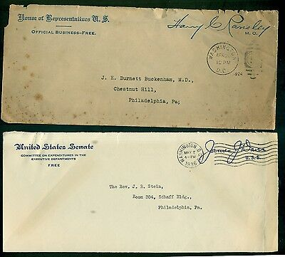 1924-1936 United States Senate & House Official Business Signature Envelopes