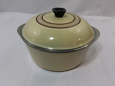 Club Cast Aluminum Cookware Stock Pot Pale Yellow, Brown Rings