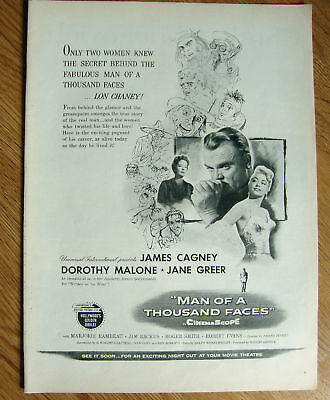 1957 Movie Ad  Man of a 1000 Faces Cagney Malone Greer