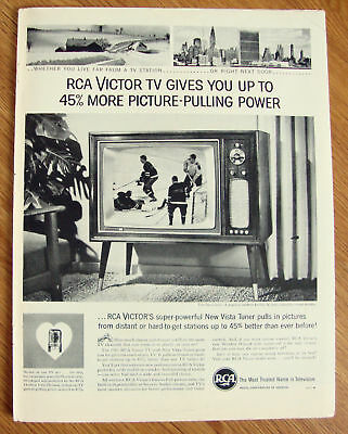 1961 RCA Victor TV Ad 45% More Picture Pulling Power