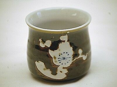 Old Vintage Japanese Art Pottery Cup Brown w White Blue Abstract Design Japan