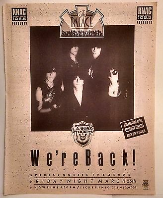 L.A. Guns/The Zeros Rare Original Los Angeles/Hollywood/LA Concert Promo Ad 1988